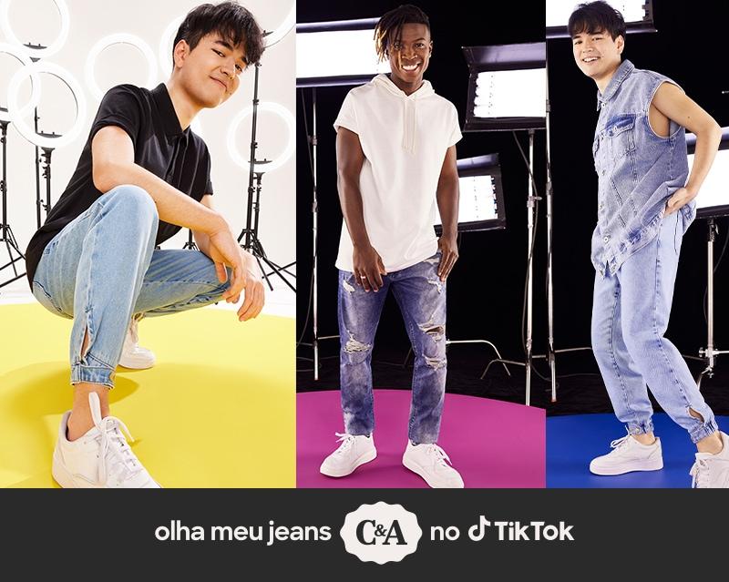 Olha meu jeans no TikTok As modelagens Jogger e Skinny estão com tudo por aqui.