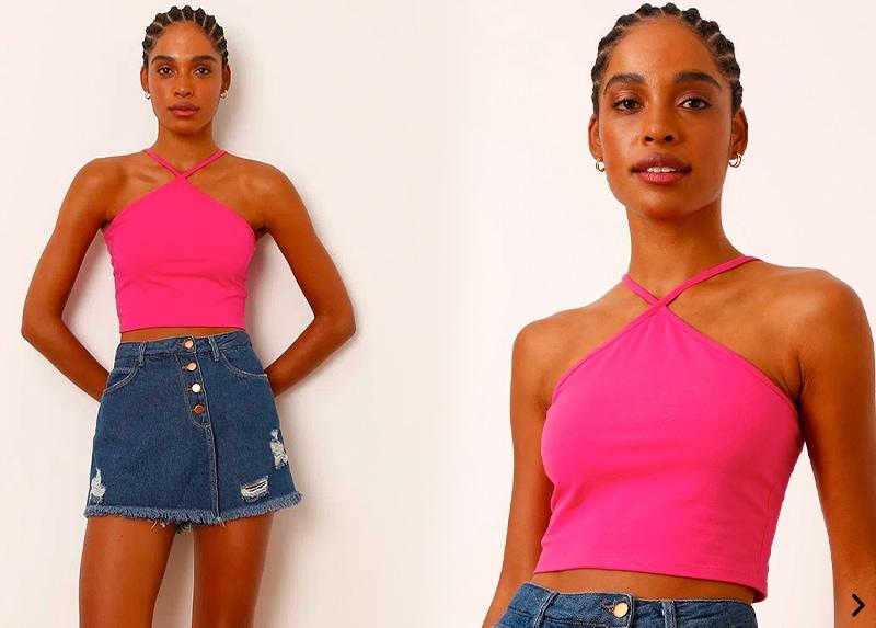 blusa cropped básica alça fina pink